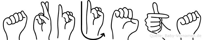 Arijeta in Fingersprache für Gehörlose