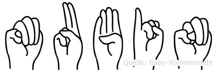 Mubin im Fingeralphabet der Deutschen Gebärdensprache