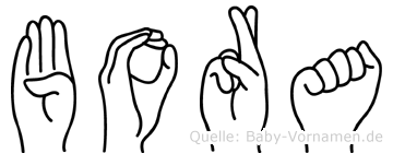 Bora in Fingersprache für Gehörlose