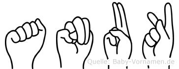 Anuk im Fingeralphabet der Deutschen Gebärdensprache