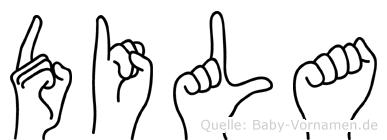 Dila im Fingeralphabet der Deutschen Gebärdensprache