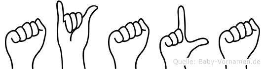 Ayala im Fingeralphabet der Deutschen Gebärdensprache