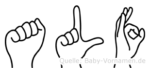 Alf im Fingeralphabet der Deutschen Gebärdensprache
