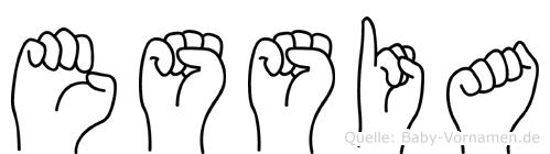 Essia im Fingeralphabet der Deutschen Gebärdensprache
