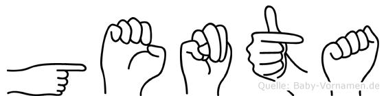 Genta im Fingeralphabet der Deutschen Gebärdensprache