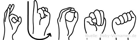 Fjona im Fingeralphabet der Deutschen Gebärdensprache
