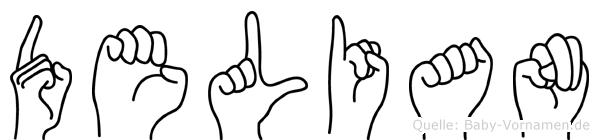 Delian im Fingeralphabet der Deutschen Gebärdensprache