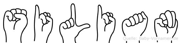 Silian im Fingeralphabet der Deutschen Gebärdensprache