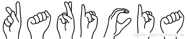 Karicia im Fingeralphabet der Deutschen Gebärdensprache
