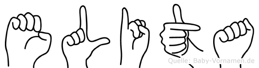 Elita im Fingeralphabet der Deutschen Gebärdensprache
