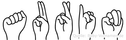 Aurin im Fingeralphabet der Deutschen Gebärdensprache