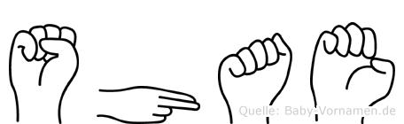 Shae im Fingeralphabet der Deutschen Gebärdensprache
