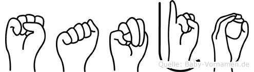 Sanjo im Fingeralphabet der Deutschen Gebärdensprache
