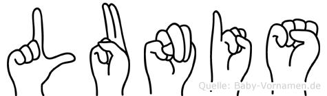 Lunis in Fingersprache für Gehörlose