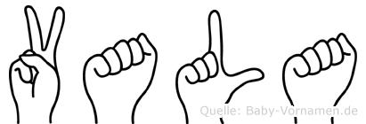 Vala im Fingeralphabet der Deutschen Gebärdensprache
