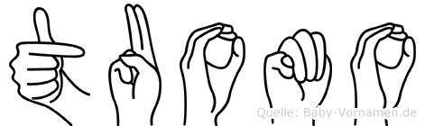 Tuomo im Fingeralphabet der Deutschen Gebärdensprache