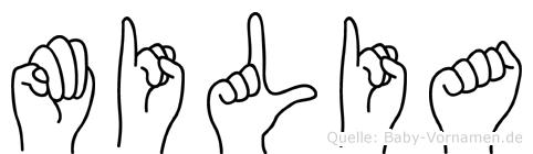 Milia in Fingersprache für Gehörlose