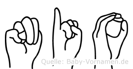Nio in Fingersprache für Gehörlose
