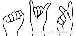 Ayk in Fingersprache für Gehörlose