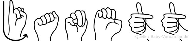 Janett im Fingeralphabet der Deutschen Gebärdensprache