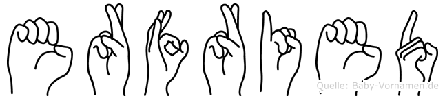 Erfried im Fingeralphabet der Deutschen Gebärdensprache