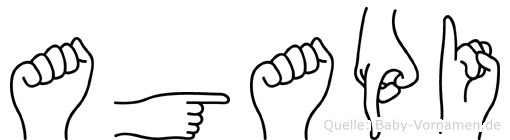 Agapi im Fingeralphabet der Deutschen Gebärdensprache