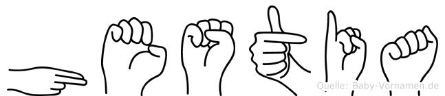 Hestia im Fingeralphabet der Deutschen Gebärdensprache