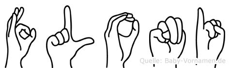 Floni im Fingeralphabet der Deutschen Gebärdensprache