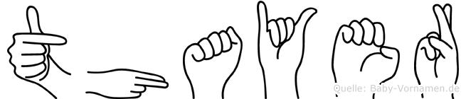 Thayer im Fingeralphabet der Deutschen Gebärdensprache