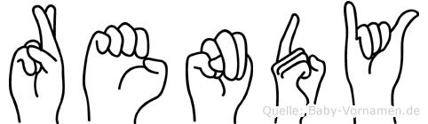 Rendy im Fingeralphabet der Deutschen Gebärdensprache
