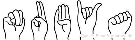 Nubya im Fingeralphabet der Deutschen Gebärdensprache