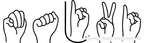 Majvi im Fingeralphabet der Deutschen Gebärdensprache