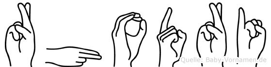 Rhodri im Fingeralphabet der Deutschen Gebärdensprache