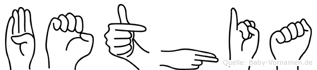 Bethia im Fingeralphabet der Deutschen Gebärdensprache