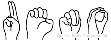 Ueno im Fingeralphabet der Deutschen Gebärdensprache