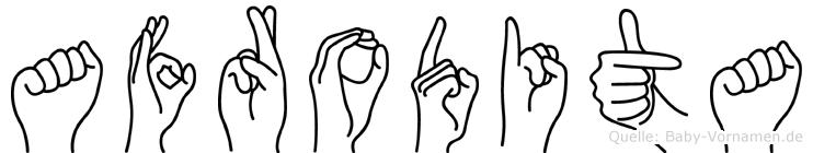 Afrodita im Fingeralphabet der Deutschen Gebärdensprache