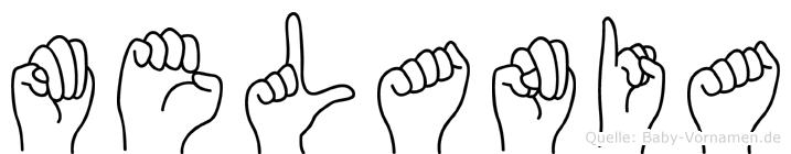 Melania im Fingeralphabet der Deutschen Gebärdensprache
