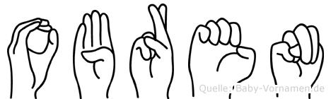 Obren im Fingeralphabet der Deutschen Gebärdensprache