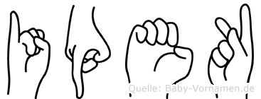 Ipek im Fingeralphabet der Deutschen Gebärdensprache