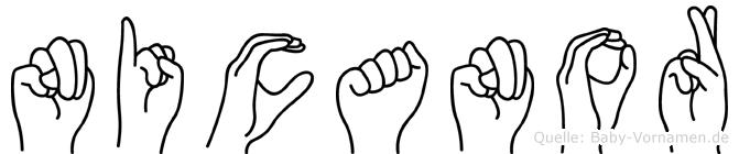 Nicanor im Fingeralphabet der Deutschen Gebärdensprache