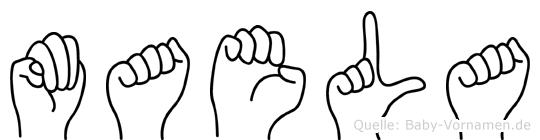 Maela im Fingeralphabet der Deutschen Gebärdensprache