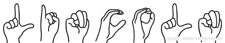 Lincoln im Fingeralphabet der Deutschen Gebärdensprache