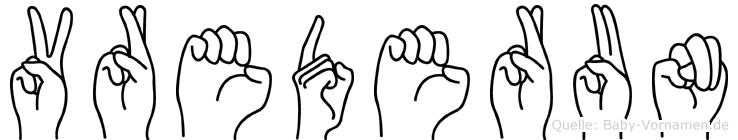 Vrederun im Fingeralphabet der Deutschen Gebärdensprache