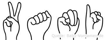 Vani im Fingeralphabet der Deutschen Gebärdensprache