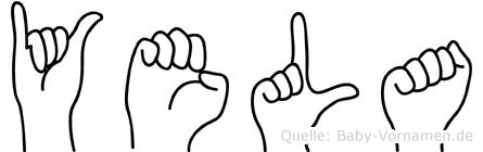 Yela im Fingeralphabet der Deutschen Gebärdensprache