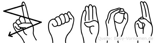 Zabou im Fingeralphabet der Deutschen Gebärdensprache