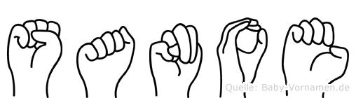 Sanoe im Fingeralphabet der Deutschen Gebärdensprache