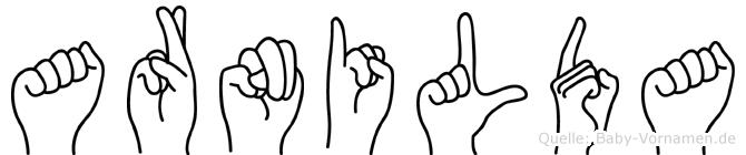 Arnilda im Fingeralphabet der Deutschen Gebärdensprache
