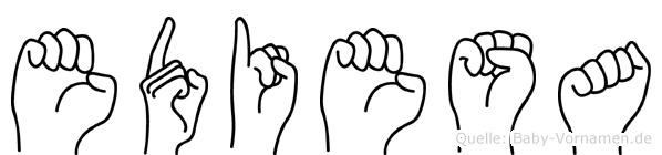 Ediesa im Fingeralphabet der Deutschen Gebärdensprache