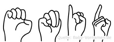 Enid im Fingeralphabet der Deutschen Gebärdensprache